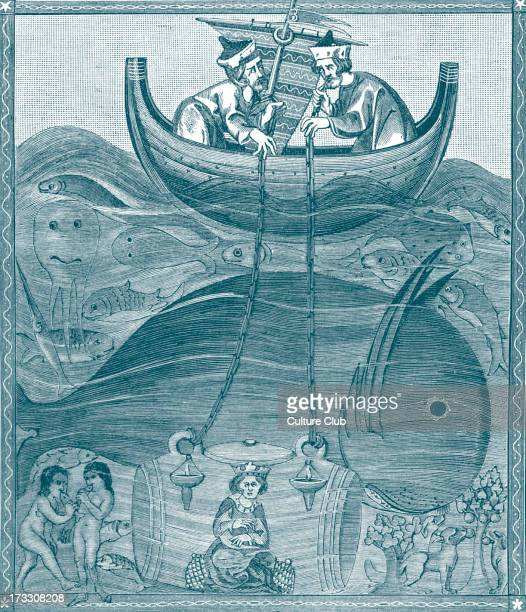 'The Marine World According to the Conceptions of the Middle Ages' 'How Alexander lowered himself into the Sea in a Glass Barrel' From miniature of...