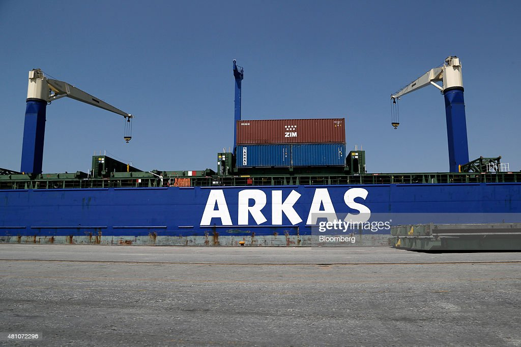 The Mario A container ship operated by Arkas Holding AS sits moored at Thessaloniki port operated by Thessaloniki Port Authority SA in Thessaloniki...