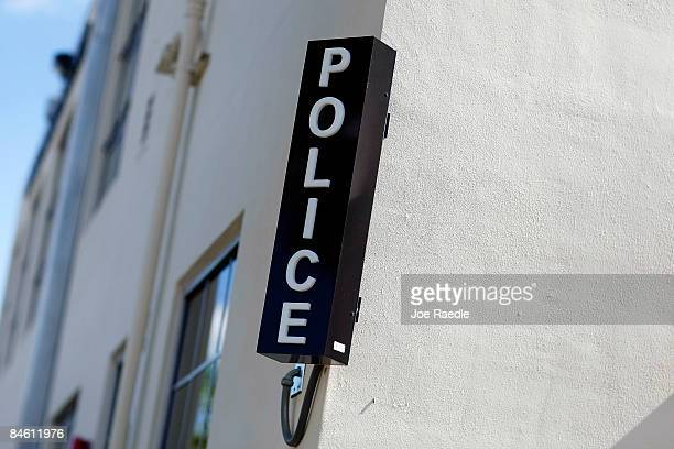 The marker for the Police station is seen on wall outside the newly opened Black Police Precinct and Courthouse Museum February 3 2009 in Miami...
