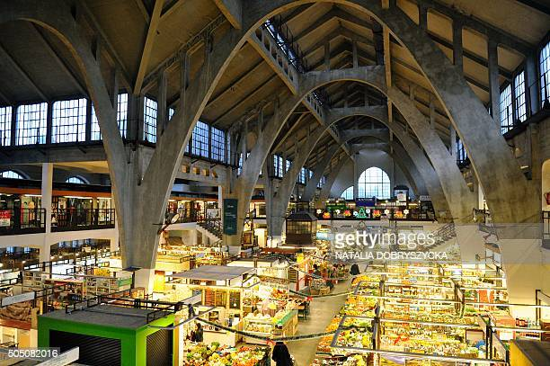 The Market Hall with concrete vaults built by German architect Richard Pluddemann is pictured in Wroclaw Poland on January 15 2016 Wroclaw former...