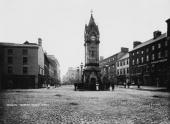 The Market Square and Clock Tower in the town of Penrith in the Lake District Cumbria circa 1890