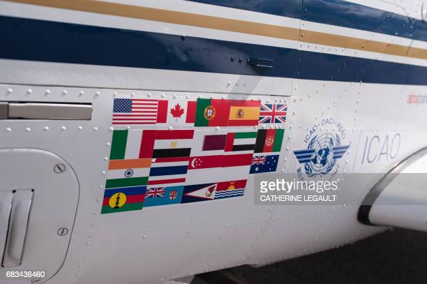 The markings on the plane of Shaesta Waiz Afghanistans first female certified civilian pilot in Montreal Canada May 15 2017 on the third leg of her...