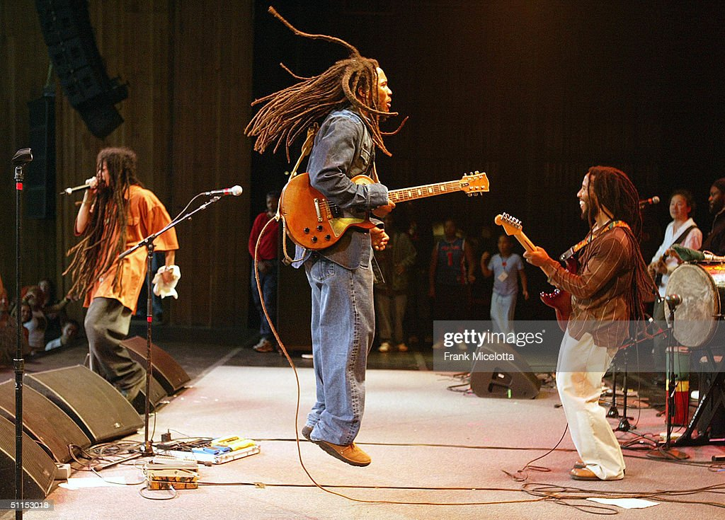 The Marley brothers perform onstage at the 'Roots, Rock, Reggae Tour 2004' at the Filene Center August 8, 2004 in Vienna, Virginia
