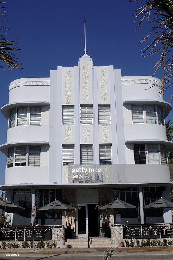 The Marlin Hotel, in South Beach, Miami Beach, Florida, USA. South Beach, part of Miami Beach, is famous for its art deco hotels and contains the largest concentration of 1920s and 1930s resort architecture in the United States. This The Marlin, on Collins Avenue, which was built in 1939 and refubished in 1997. . American America style stylish colour colourful.