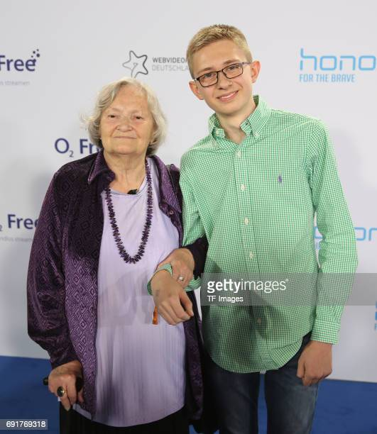 The Marmeladen Oma Helga with grandsonl Janik attends the Webvideopreis Deutschland 2017 at ISS Dome on June 1 2017 in Duesseldorf Germany