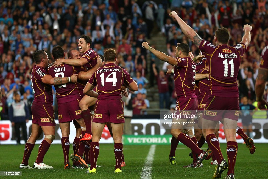 The Maroons celebrate winning game three of the ARL State of Origin series between the New South Wales Blues and the Queensland Maroons at ANZ Stadium on July 17, 2013 in Sydney, Australia.