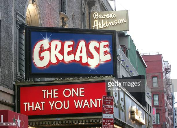 The marque at the opening night of the new production of 'Grease' on Broadway at the Brooks Atkinson Theatre on August 19 2007 in New York City