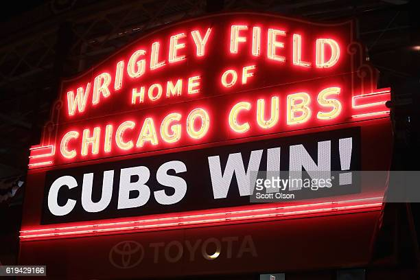 The marquee above Wrigley Field shines after the Chicago Cubs beat the Cleveland Indians 32 during Game Five of the 2016 World Series on October 30...