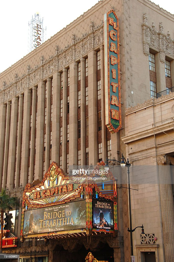The marquee announces the premiere of Walt Disney's Bridge To Terabithia at the El Capitan Theater February 3 2007 in Hollywood California