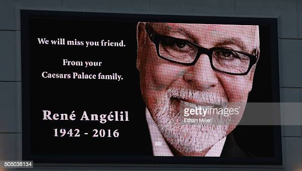 The marquee at Caesars Palace shows a tribute to Rene Angelil husband of singer Celine Dion on January 14 2016 in Las Vegas Nevada Angelil died this...