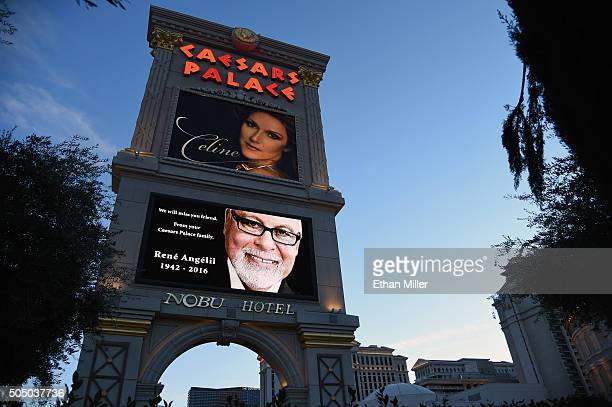 The marquee at Caesars Palace shows a tribute to Rene Angelil under an image of his wife singer Celine Dion on January 14 2016 in Las Vegas Nevada...