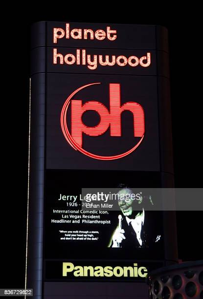 The marquee at Planet Hollywood Resort Casino shows a tribute to entertainer Jerry Lewis on August 21 2017 in Las Vegas Nevada Lewis died on August...
