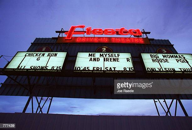 The marquee for the Fiesta drivein movie theater in Carlsbad New Mexico advertises the evening shows for the triplex August 10 2000 The death of the...