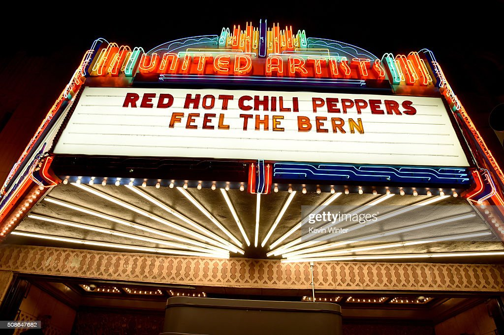 The marquee for the Red Hot Chili Peppers 'Feel The Bern' concert, a fundraiser to benefit presidential candidate Bernie Sanders at the Ace Theater Downtown LA on February 5, 2016 in Los Angeles, California.