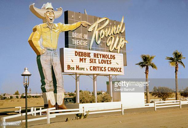 The marquee for the Round Up DriveinTheatre lists My Six Loves starring Debbie Reynolds Phoenix Arizona ca 1964