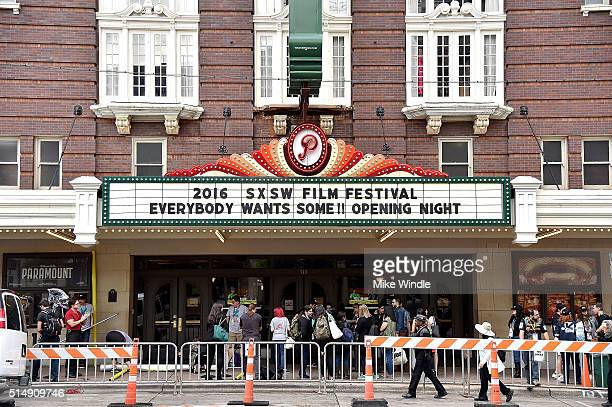 The marquee for the screening of 'Everybody Wants Some' is displayed during the 2016 SXSW Music Film Interactive Festival at Paramount Theatre on...