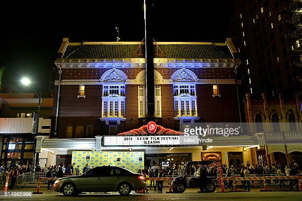 The marquee for the screening of 'Gleason' is displayed during the 2016 SXSW Music Film Interactive Festival at Paramount Theatre on March 11 2016 in...