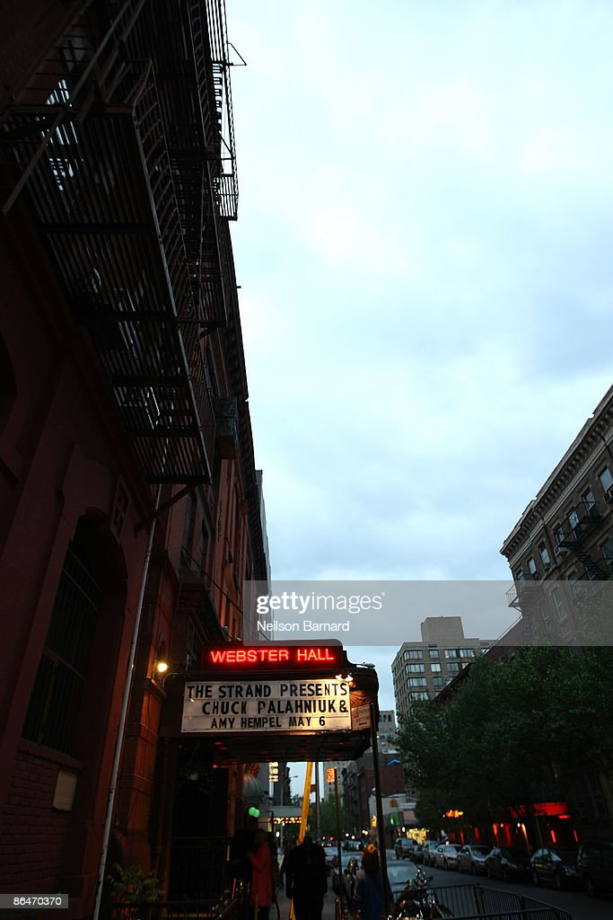 The marquee is seen at a reading with Chuck Palahniuk hosted by Strand Bookstore at Webster Hall May 6, 2009 in New York City.