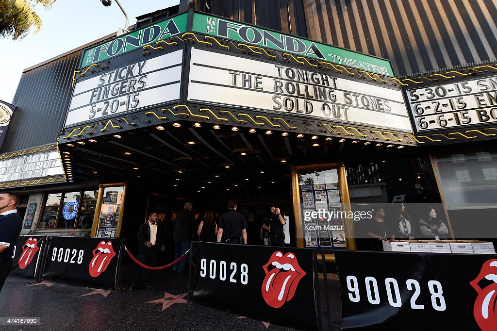 The Marquee is seen prior to The Rolling Stones Los Angeles Club Show at The Fonda Theatre on May 20, 2015 in Los Angeles, California. The Rolling Stones played a special surprise show at The Fonda Theatre in Los Angeles with a one-time only set featuring the original Sticky Fingers album in its entirety with additional Stones hits. The intimate performance was a celebration of the June 9th re-issue of the Sticky Fingers album, one of the most revered albums in the band's storied catalog, the 1971 classic features timeless tracks such as 'Brown Sugar', 'Wild Horses', 'Bitch', 'Sister Morphine' and 'Dead Flowers'. The Stones will kick off their 15-city North American ZIP CODE Tour at Petco Park in San Diego on Sunday, May 24, 2015.