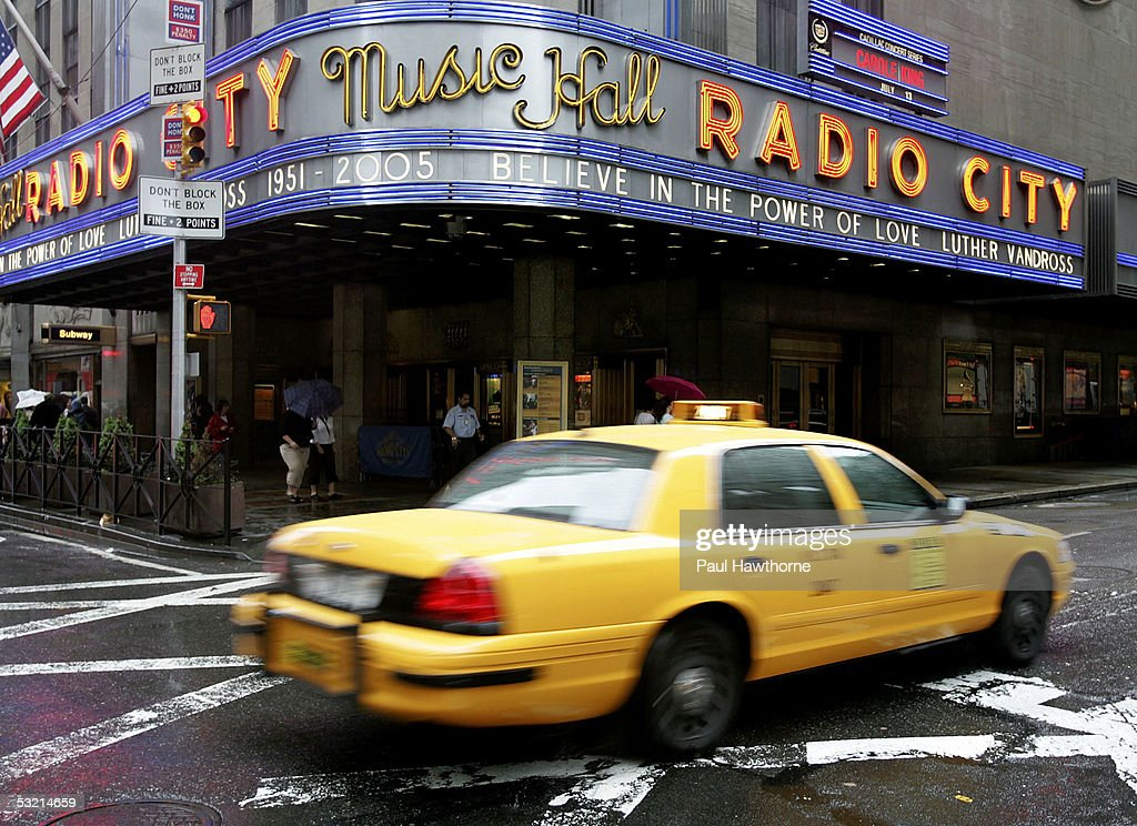 The marquee of Radio City Music Hall pays tribute to the late Luther Vandross on the morning of his funeral July 8, 2005 in New York City.