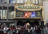 The marquee of the El Capitain theatre promotes the soontobereleased 'Star Wars The Force Awakens' November 12 in Hollywood California 'Star Wars The...