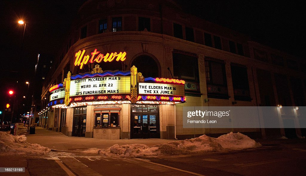 The marquee of the Uptown Theatre during the Friends of JJ's benefit concert at Uptown Theatre on March 5, 2013 in Kansas City, Missouri.
