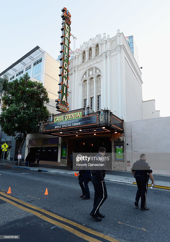 The marquee over the historic California Theater announces an 'Apple special event' on October 22, 2012 in San Jose, California. Apple is set to introduce its long-rumored iPad Mini during a news conference on Tuesday.