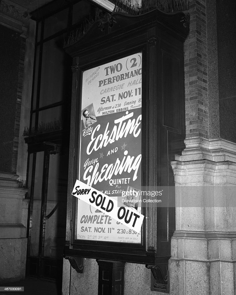 The marquee reads '2 Perfromsnaces Carnegie Hall Sat Nov 11 afternoon at 230pm and evening at 830pm Milton Ebbins Presents Billy Eckstine and George...