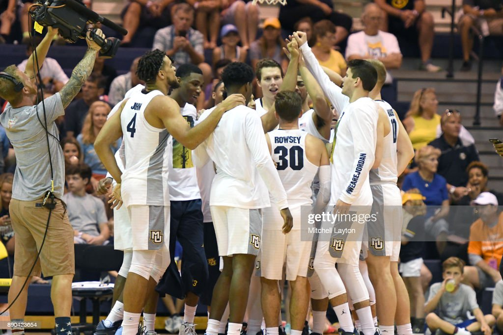 The Marquette Golden Eagles huddle before a consultation college basketball game at the Maui Invitational against the LSU Tigers at the Lahaina Civic Center on November 22, 2017 in Lahaina, Hawaii. The Golden Eagles won 94-84.