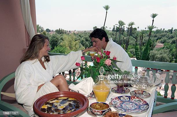 The Marriage Of Singer Marc Lavoine 32 Years Old With Sarah Poniatowski 21 Years In Morocco Marrakech Marrakech mai 1995 Mariage du chanteur Marc...