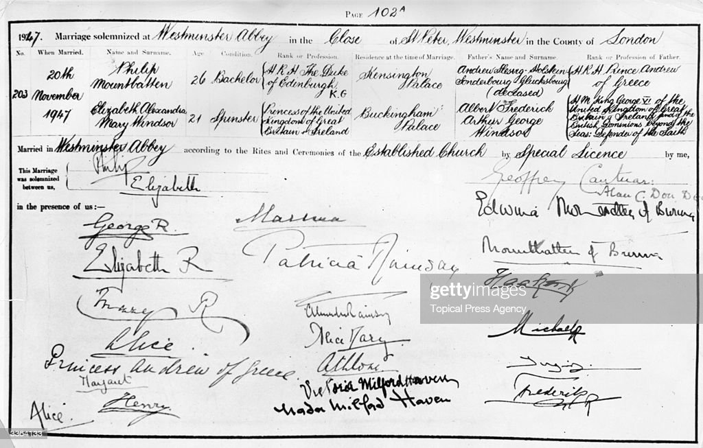 The marriage register of Princess Elizabeth and Lieutenant Philip Mountbatten, bearing the signatures of Philip and Elizabeth, the King and Queen and members of the Royal Family.