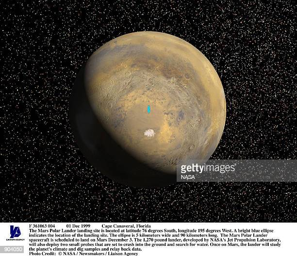 The Mars Polar Lander landing site is located at latitude 76 degrees South longitude 195 degrees West A bright blue ellipse indicates the location of...