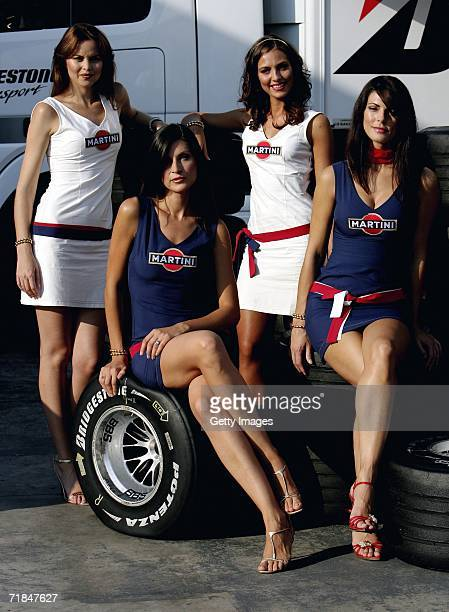 The Martini pit girls in the paddock after second practice for the Italian Grand Prix at the Autodromo Nazionale di Monza on 8 September 2006 in...
