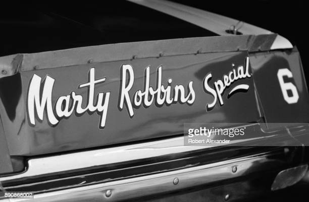 The Marty Robbins Special a racecar driven by country and western singer Marty Robbins sits in the garage prior to the start of the 1980 Firecracker...