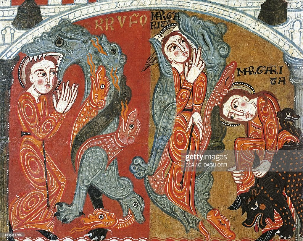 The Martyrdom of St Margaret the saint being devoured by Satan in the guise of a dragon reredos of the altar of St Margaret 12th century panel...
