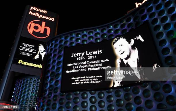 The maruqee and a sign at Planet Hollywood Resort Casino show a tribute to entertainer Jerry Lewis on August 21 2017 in Las Vegas Nevada Lewis died...