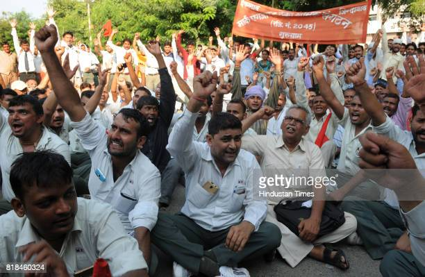 The Maruti workers held a protest rally from Rajiv chowk to Mini secretariat on the fifth anniversary of Maruti tragedy on July 18 2017 in Gurgaon...