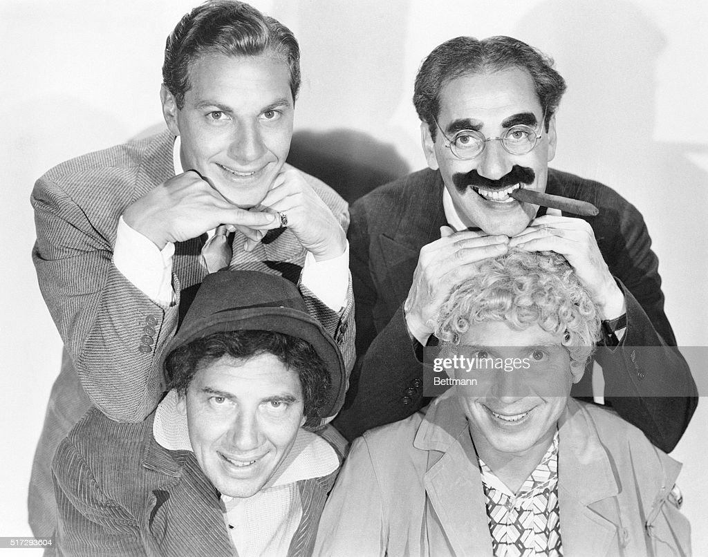 The Marx Brothers assume their roles from the movie Duck Soup. Clockwise from top left are: <a gi-track='captionPersonalityLinkClicked' href=/galleries/search?phrase=Zeppo+Marx&family=editorial&specificpeople=1006344 ng-click='$event.stopPropagation()'>Zeppo Marx</a> as Lt. Bob Roland, <a gi-track='captionPersonalityLinkClicked' href=/galleries/search?phrase=Groucho+Marx&family=editorial&specificpeople=206589 ng-click='$event.stopPropagation()'>Groucho Marx</a> as Rufus T. Firefly, <a gi-track='captionPersonalityLinkClicked' href=/galleries/search?phrase=Harpo+Marx&family=editorial&specificpeople=123841 ng-click='$event.stopPropagation()'>Harpo Marx</a> as Pinky, and <a gi-track='captionPersonalityLinkClicked' href=/galleries/search?phrase=Chico+Marx&family=editorial&specificpeople=212856 ng-click='$event.stopPropagation()'>Chico Marx</a> as Chicolini.