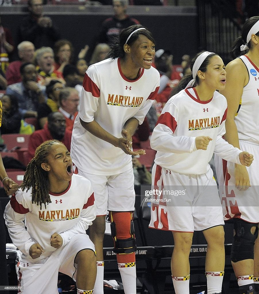 The Maryland bench erupts, as the Terrapins break into the lead against the Texas Longhorns during the second round of the NCAA Tournament in College Park, Md., on Tuesday, March 25, 2014.