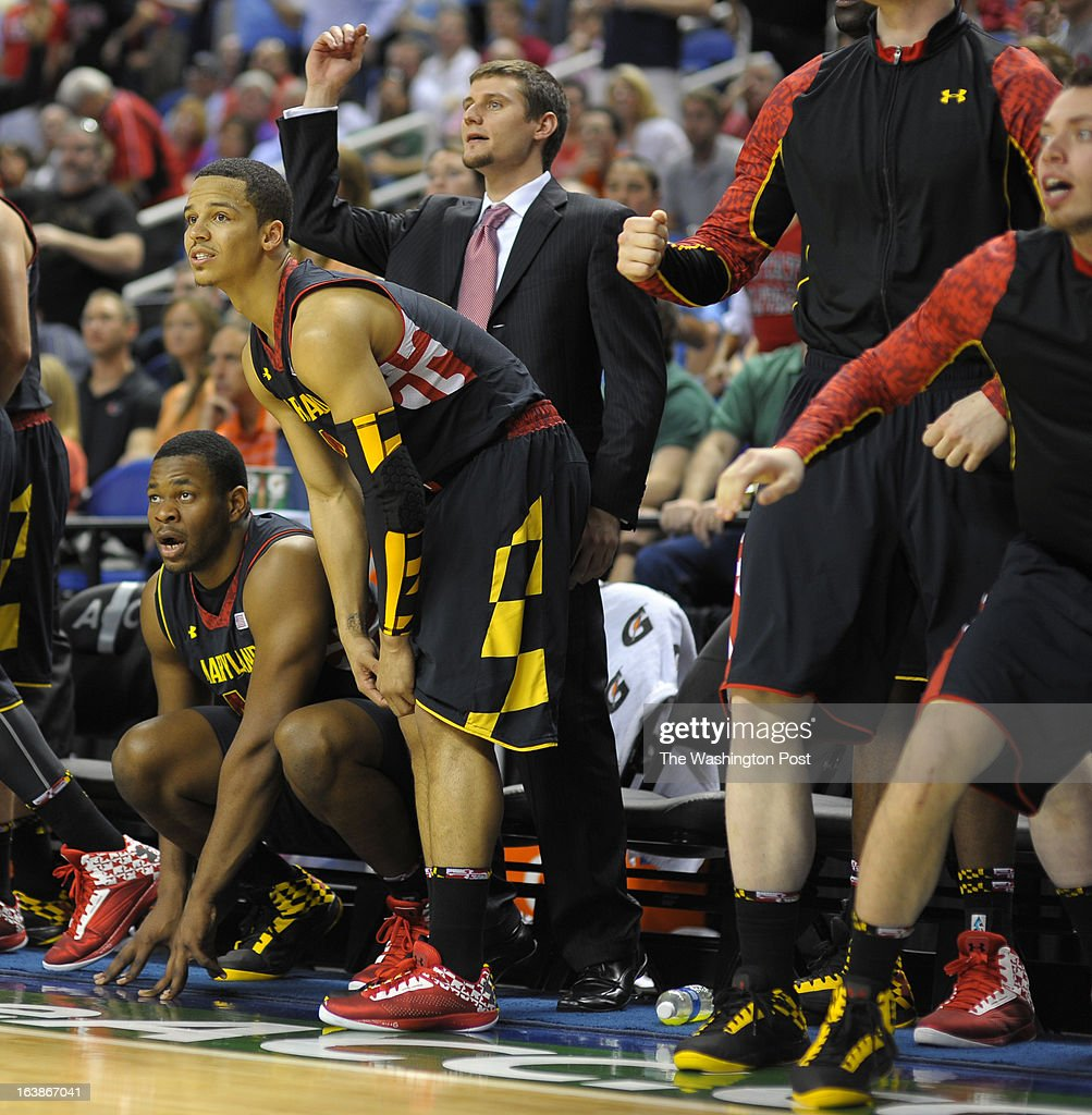 The Maryland bench reacts to a last minute shot as the North Carolina Tar Heels defeat the Maryland Terrapins 79 - 76 in the ACC mens basketball semifinal at the Greensboro Coliseum in Greensboro NC, March 16, 2013.