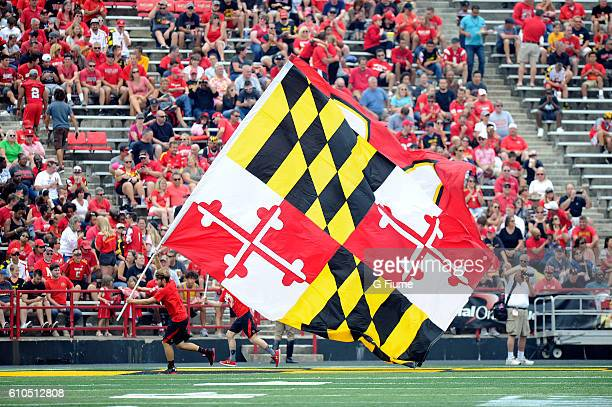 The Maryland flag is on display after the Maryland Terrapins score against the Howard Bison at Maryland Stadium on September 3 2016 in College Park...