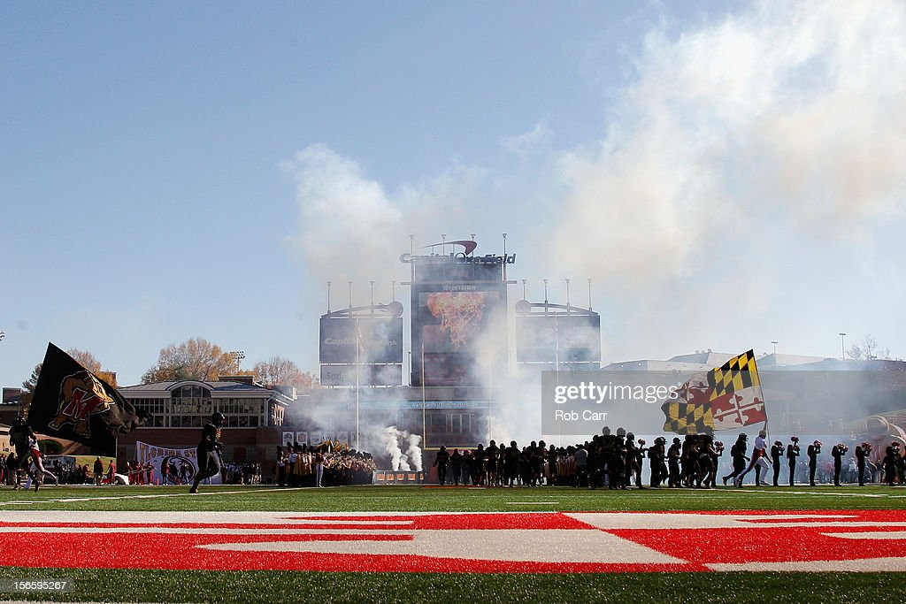 The Maryland Terrapins are introduced before the start of their game against the Florida State Seminoles at Byrd Stadium on November 17, 2012 in College Park, Maryland.