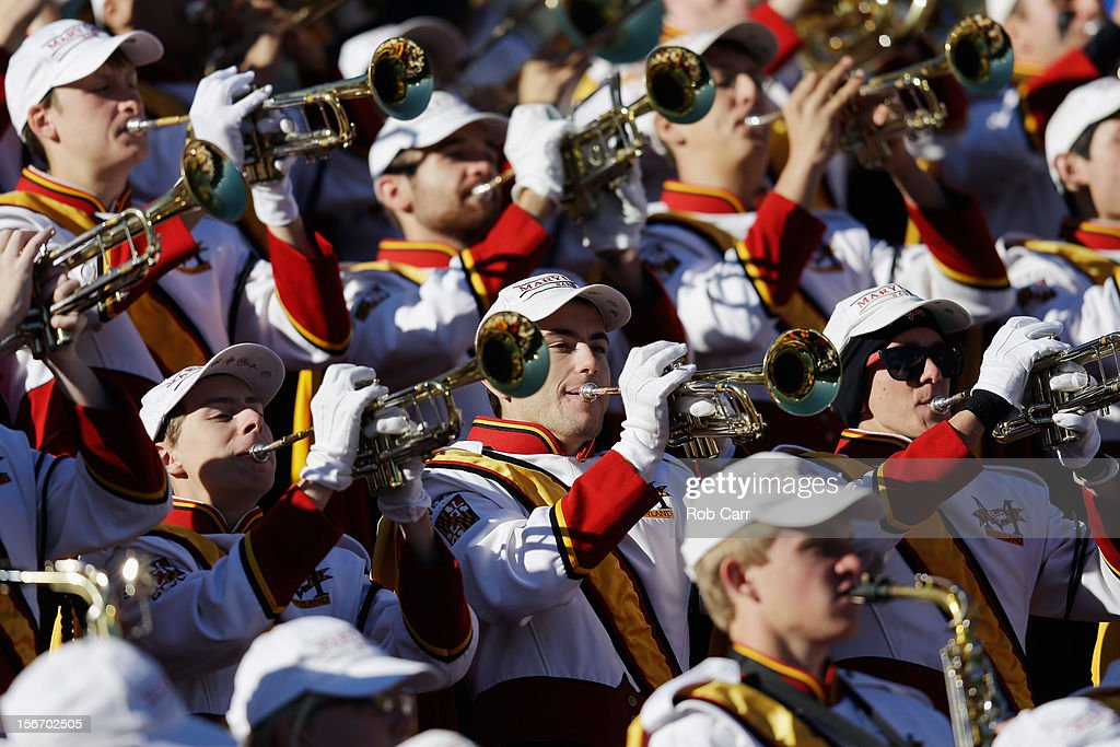 The Maryland Terrapins band preforms during the Terrapins and Florida State Seminoles game at Byrd Stadium on November 17, 2012 in College Park, Maryland.