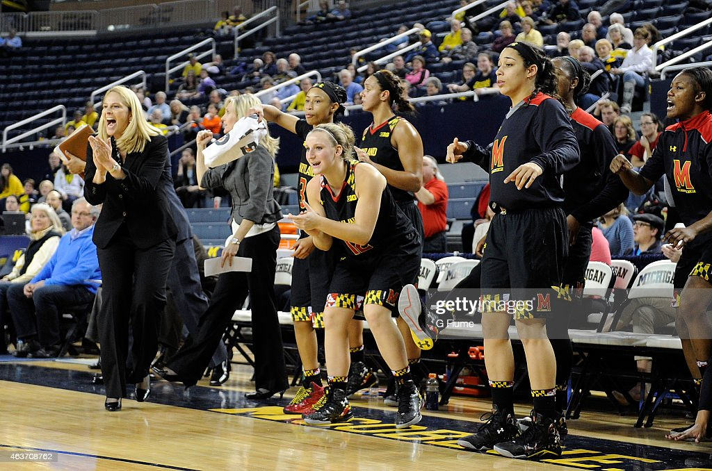 The Maryland Terrapins celebrate during the game against the Michigan Wolverines at Crisler Arena on January 29, 2015 in Ann Arbor, Michigan.