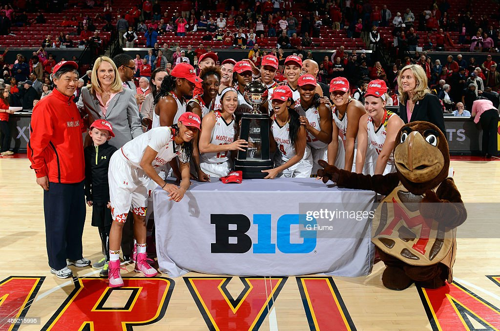The Maryland Terrapins celebrate the Big Ten regular season championship after a victory against the Penn State Lady Lions at the Xfinity Center on February 23, 2015 in College Park, Maryland.