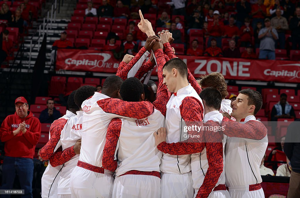 The Maryland Terrapins huddle up before the game against the IUPUI Jaguars at the Comcast Center on January 1, 2013 in College Park, Maryland.