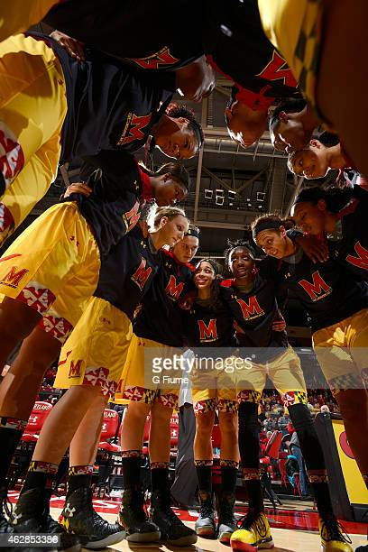 The Maryland Terrapins huddle up before the game against the Michigan State Spartans at the Xfinity Center on January 22 2015 in College Park Maryland
