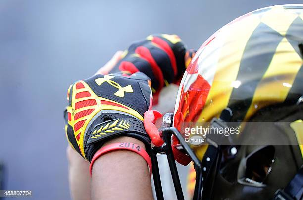 The Maryland Terrapins huddle up before the game against the Penn State Nittany Lions at Beaver Stadium on November 1 2014 in State College...