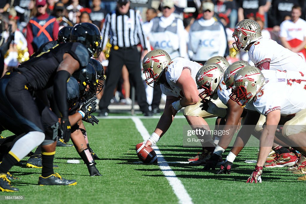 The Maryland Terrapins line up at the line of scrimmage against the Florida State Seminoles at Byrd Stadium on November 17, 2012 in College Park, Maryland.