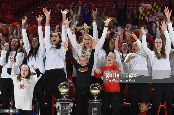 The Maryland Terrapins react as the team is announced on TV before the NCAA Selection Monday brackets are set at Xfinity Center March 13 2017 in...